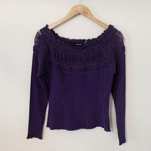 DOLCE CABO Purple Crochet/Lace Ribbed Top